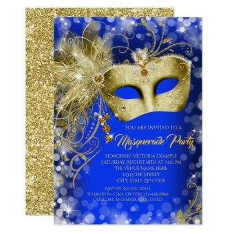 Fancy Royal Blue Gold Glitter Masquerade Party