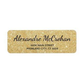 Faux Gold Glitter Foil Return Address Label
