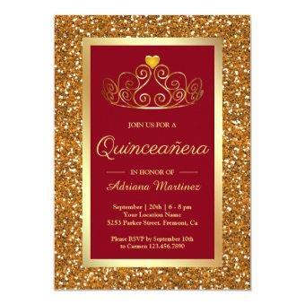 Faux Gold Glitter Tiara Princess Red