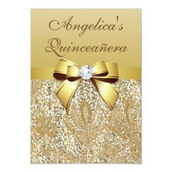 Faux Gold Sequins and Bow Quinceañera