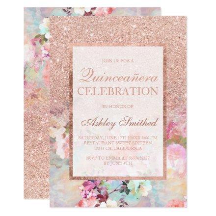 Faux rose gold glitter elegant floral Quinceañera