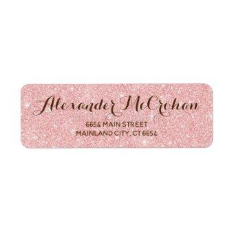 Faux Rose Gold Glitter Foil Pink Return Address Label