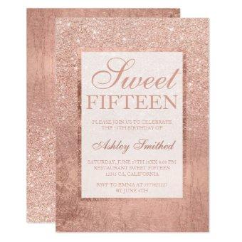 Faux rose gold glitter leaf elegant chic Sweet 15