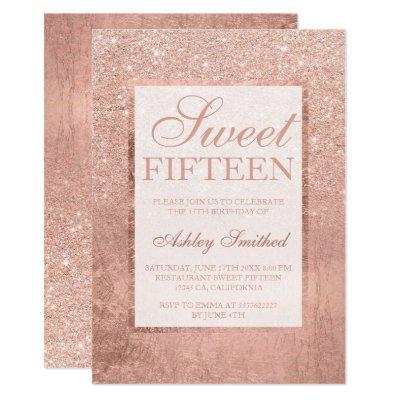 Faux rose gold glitter leaf elegant chic Sweet 15