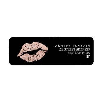 Faux rose gold glitter lips kiss makeup label