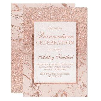 Faux rose gold glitter marble chic Quinceañera