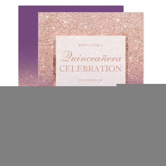 Faux rose gold glitter purple chic Quinceañera