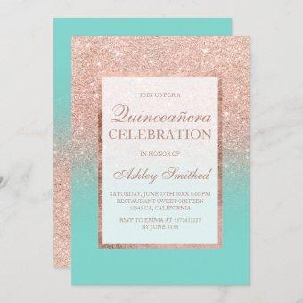 Faux rose gold glitter turquoise Quinceañera