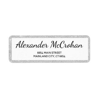 Faux Silver Glitter Foil Return Address Label