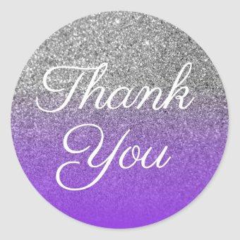 Faux Violet Silver Glitter Thank You Classic Round Sticker