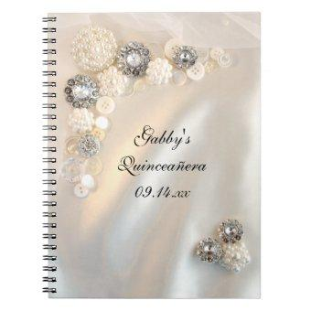 Faux White Pearl Diamond Buttons Quinceañera Notebook