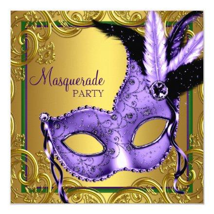 Feather Mask Purple and Gold Masquerade Party