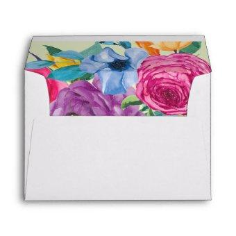 Fiesta Flowers Colorful Floral Return Address Envelope