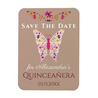 Floral Art Butterfly Save The Date Magnet