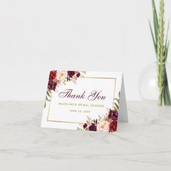 Floral Burgundy Gold Bridal Shower Thanks B Note Thank You