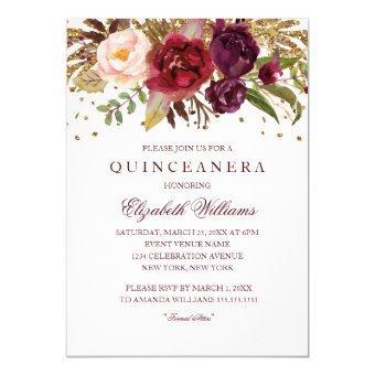 Floral Glitter Sparkling Burgundy