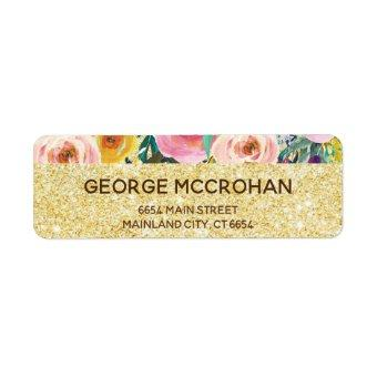 Floral Gold Glitter Foil Return Address Label