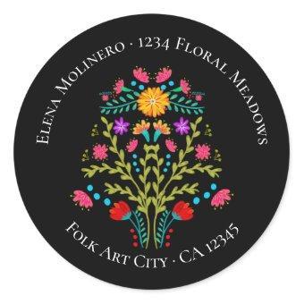 Floral Mexican Fiesta Flowers Black Address Classic Round Sticker