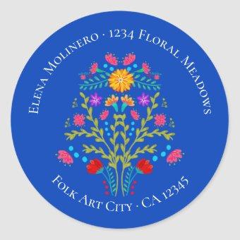 Floral Mexican Fiesta Flowers Royal Blue Address Classic Round Sticker