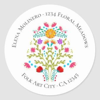 Floral Mexican Fiesta Flowers White Address Classic Round Sticker