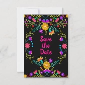 Floral Mexican Fiesta & Papel Picado - Black Save The Date