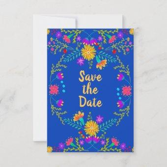 Floral Mexican Fiesta & Papel Picado - Royal Blue Save The Date
