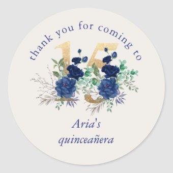 Floral Number 15 Ivory Royal Blue Gold Classic Round Sticker