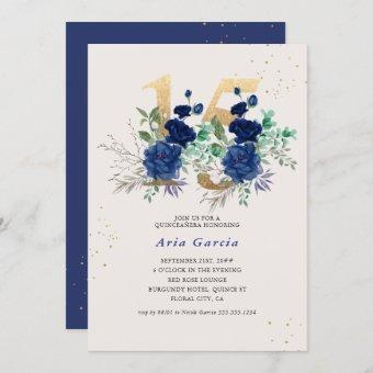Floral Number 15 Royal Blue and Gold