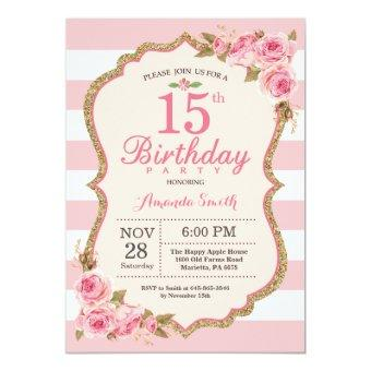 Floral Pink Peonies 15th Birthday Party