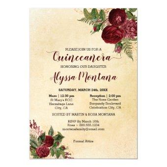 Floral Burgundy Red Mass & Reception