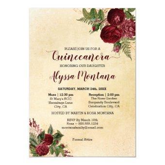 Floral Burgundy Red Mass & Reception