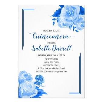 Floral Royal Blue Roses on White