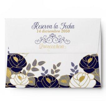 Floral Spanish Navy Blue Envelope