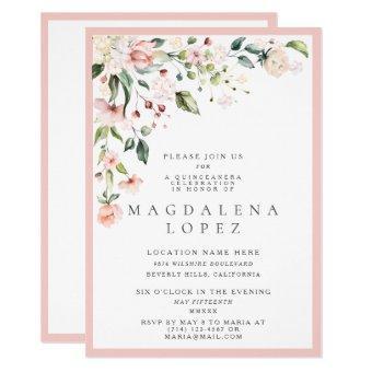Formal Blush Pink Floral Watercolor Quinceañera