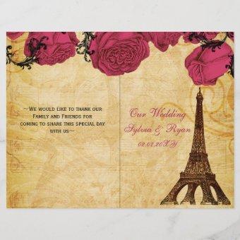 French Eiffel tower pink folded Wedding program