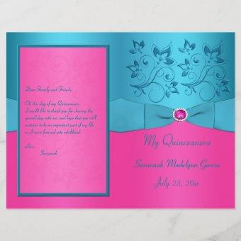 Fuchsia and Turquoise Floral Program