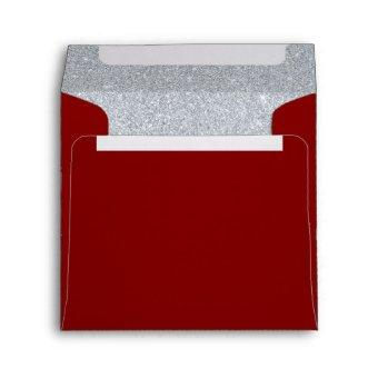Garnet and Silver Sparkly Glitter Maroon Envelope