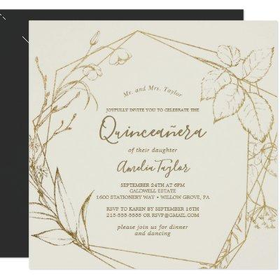 Gilded Floral   Cream and Gold Quinceañera