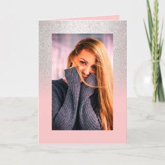 Girly blush pink silver glitter ombre Quinceañera