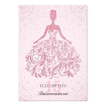 Girly Blush Sparkle Dress Quinceañera Glitter Pink