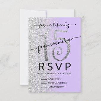 Girly Lavender Silver Glitter Ombre Quinceañera RSVP Card
