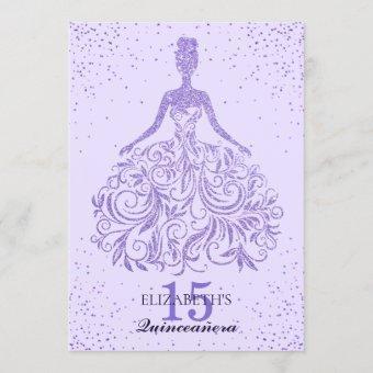Girly Purple Violet Glitter Dress Quinceañera