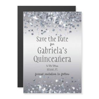 Glam Faux Silver Glitter Save the Date Magnetic