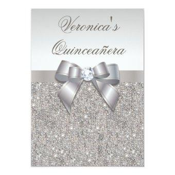 Glamorous Quinceañera Faux Silver Sequins and Bow