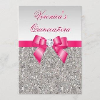 Glamorous Quinceañera Silver Sequins Hot Pink Bow