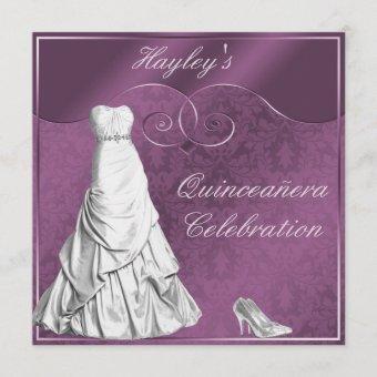 Glamorous White Ball Gown Purple