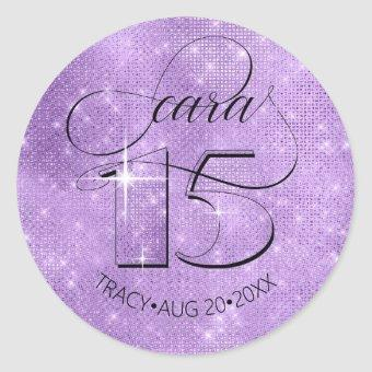 Glitter and Shine Violet ID701 Classic Round Sticker