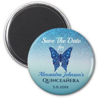 Glitter Blue Butterfly Save The Date Magnet