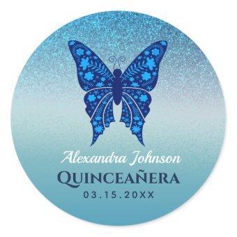 Glitter Blue Birthday Classic Round Sticker