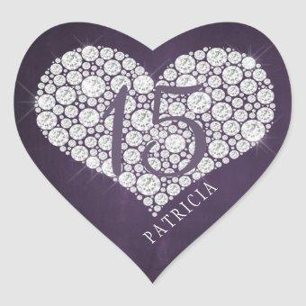 Glitter diamonds heart purple plum heart sticker